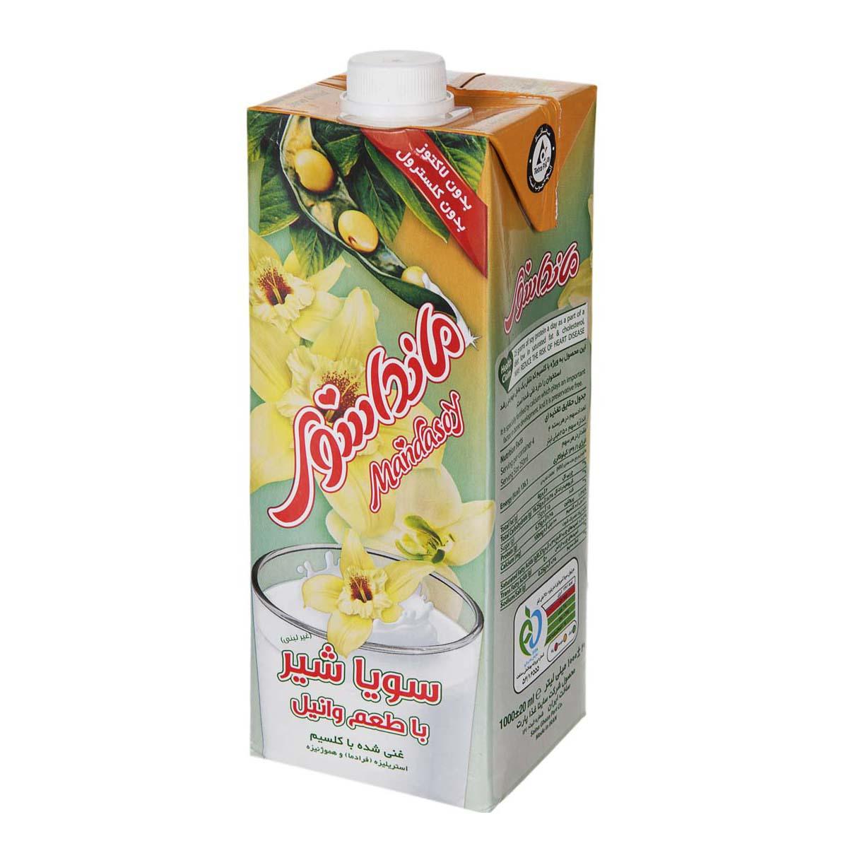 سویا شیر با طعم وانیل مانداسوی حجم ۲۰۰ میلی لیتر