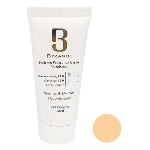 کرم ضد آفتاب پوست خشک و حساس بیزانس شماره ۱۰ بژروشن حجم ۳۰ میلی لیتر