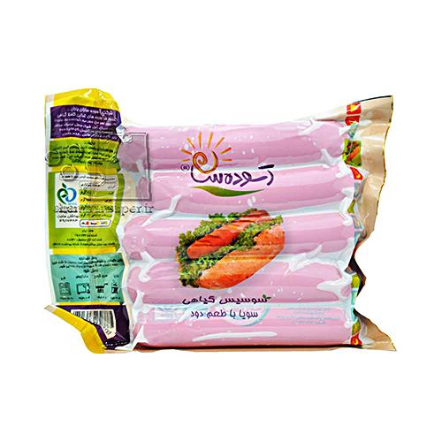 سوسیس گیاهی سویا دودی آسوده سازان وزن ۴۰۰ گرم
