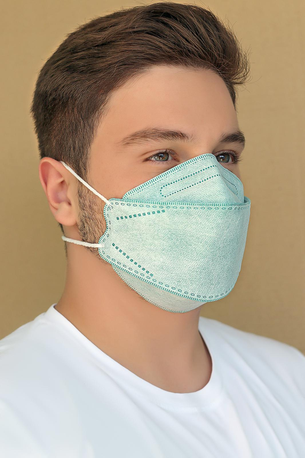 ماسک سه بعدی طرح کره ای KN95 رنگ سبز کش پشت گوشی بسته ۲۰ عددی