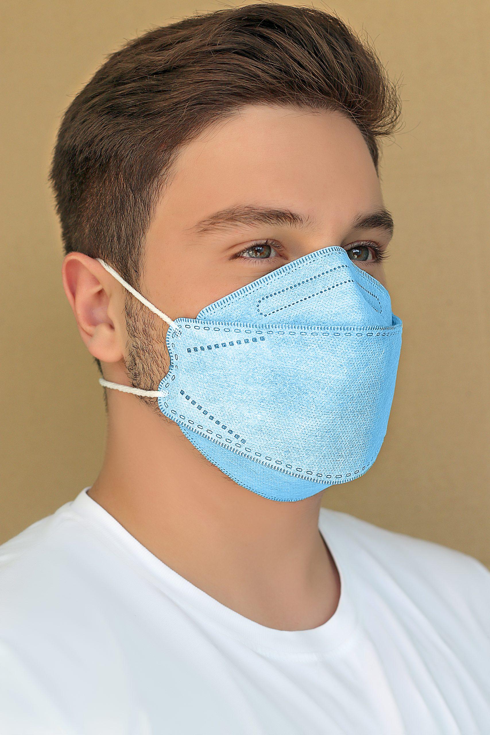 ماسک سه بعدی طرح کره ای KN95 آبی کش پشت سری بسته ۲۰ عددی
