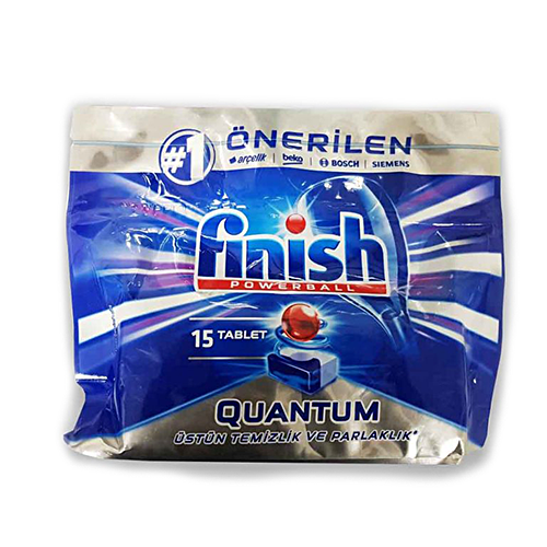 قرص ماشین ظرفشویی کوانتوم فینیش finish بسته ۱۵عددی