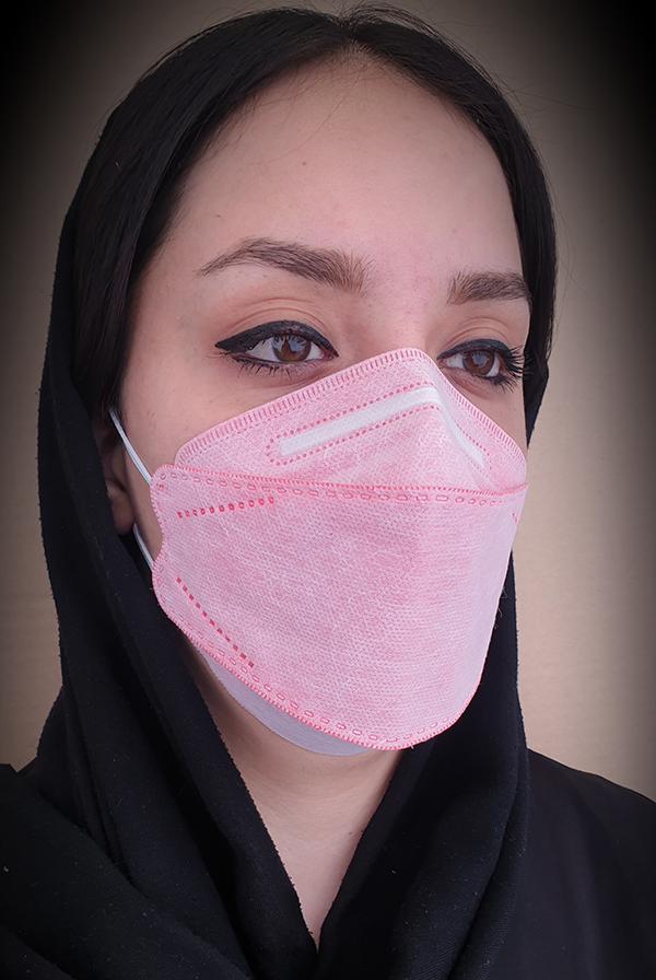 ماسک سه بعدی طرح کره ای KN95 رنگ صورتی کش پشت گوشی بسته ۲۰ عددی